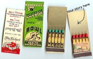Poster of Matchbook Covers, showing how much room there is to write on.