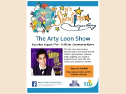 Flyer for the Arty Loon Show August 17th