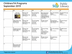 September Children and Young Adults Calendar